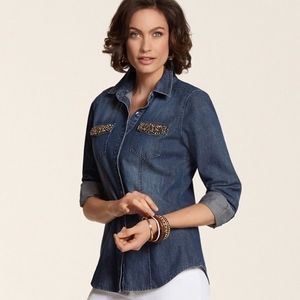 NWT Chico's BLING POCKETS TILLI SHIRT Size 0